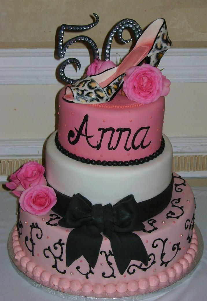 A 50th birthday cake idea for the classy chic complete with high