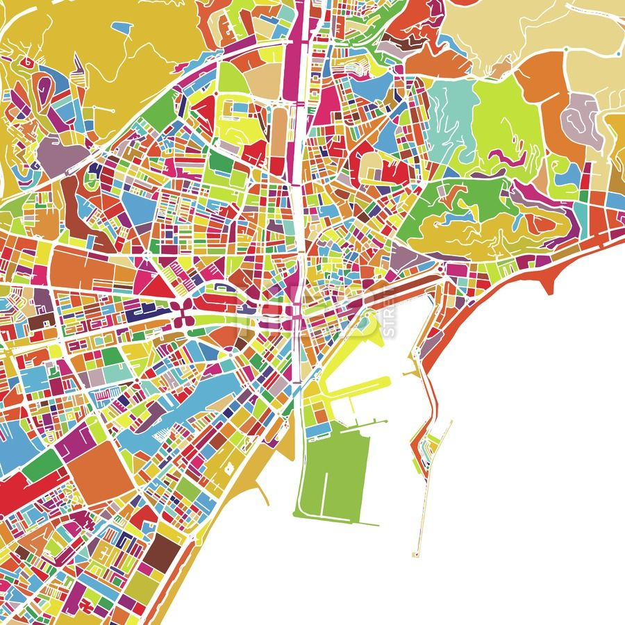 Malaga Colorful Vector Map On Black