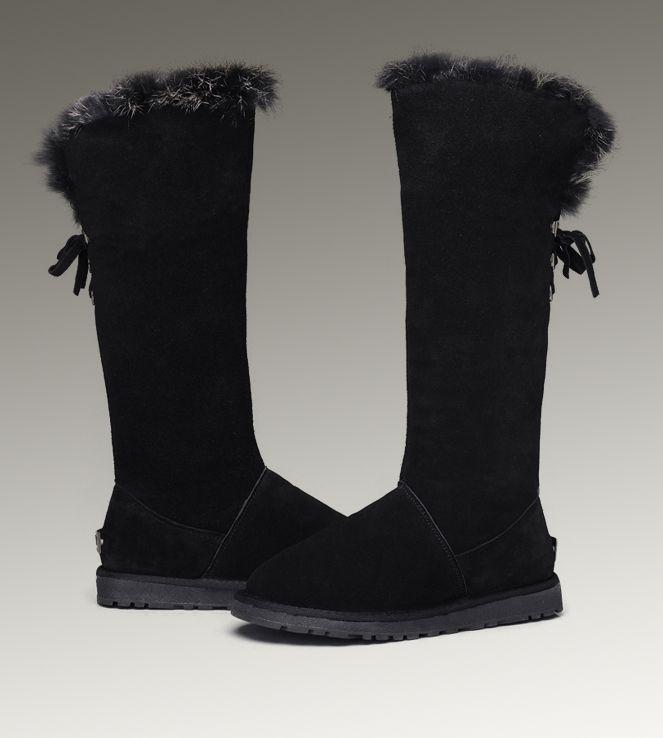 UGG Tall Fox Fur 5369 Black Boots