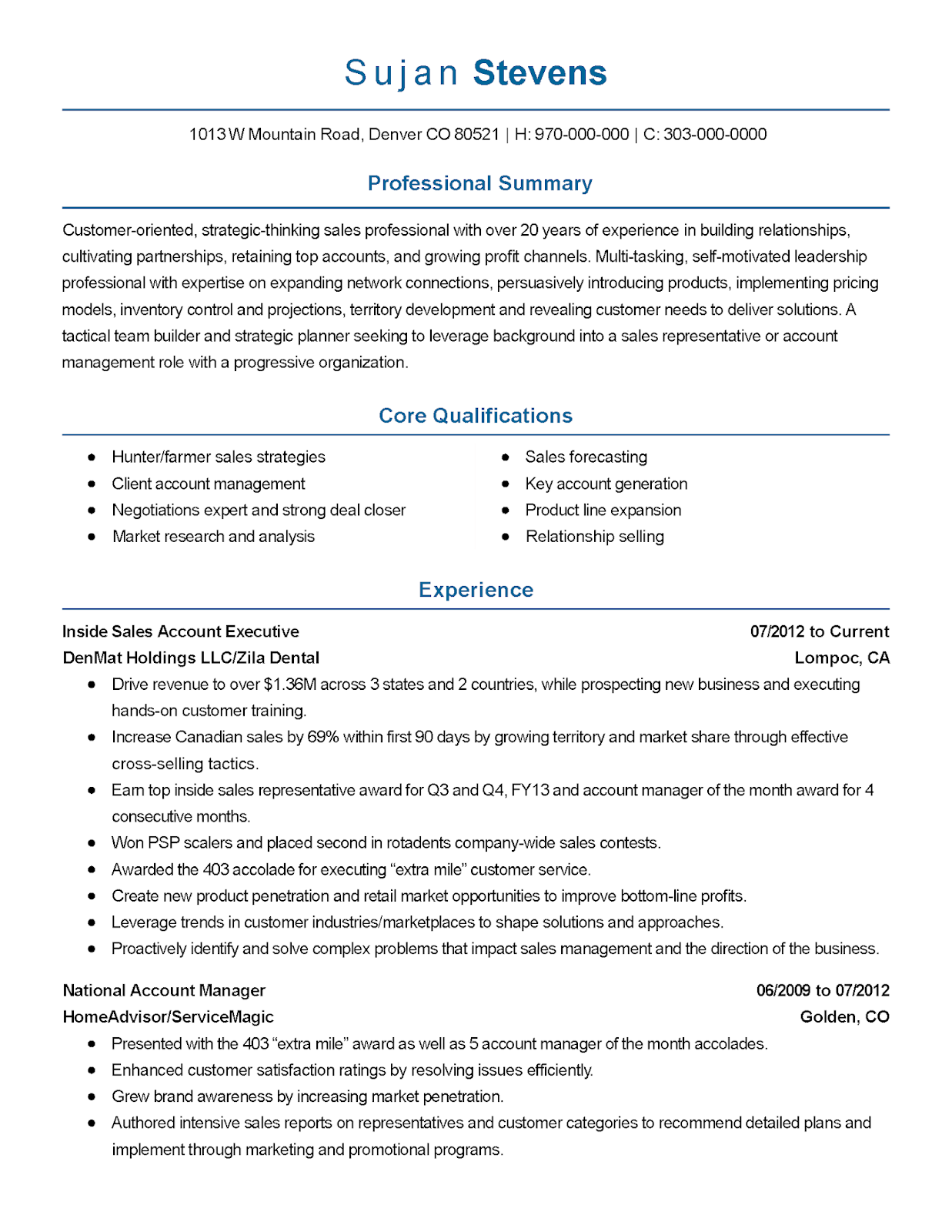 account executive sample resume, account manager sample