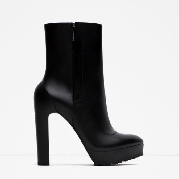 Zara black leather ankle boots Brand new never worn just tried on. Comes with box. Size Euro 38 US 7.5 Zara Shoes