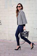 Zara Crop Black and White Gingham Jacket