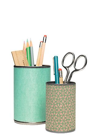 Wrap recycled tin cans to store pencils, pens, and scissors.
