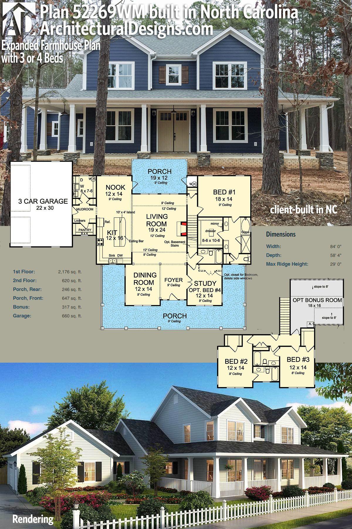 Architectural Designs Farmhouse Plan 52269WM   Client Built In North  Carolian. 2,700+ Sq