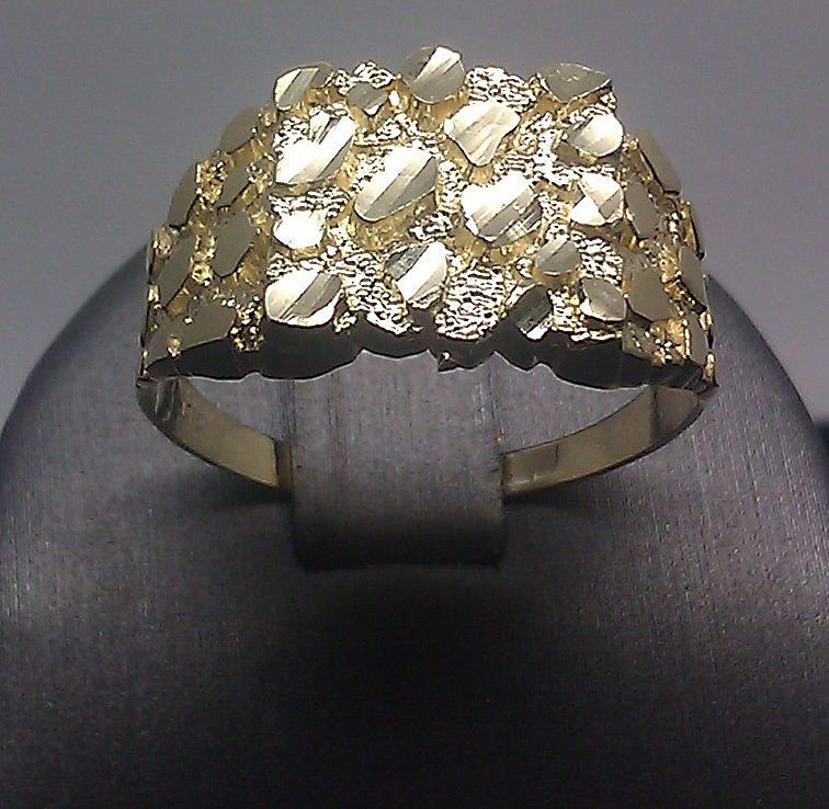 Real Solid 10k Yellow Gold Nugget Men S Ring Sizable Pinkey Casual Gold Ring Designs Casual Rings Rings For Men