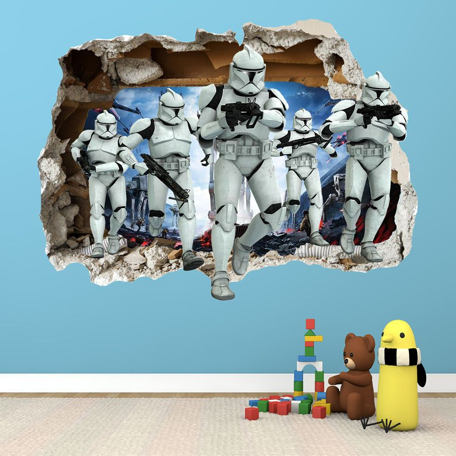 Star Wars Smashed Wall Sticker 3d Bedroom Boys Girls