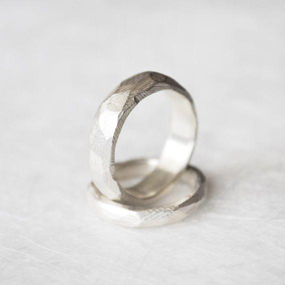Facetten Ring Silber geometrischer Ehering Unikat