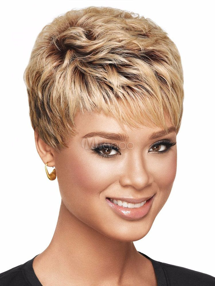 Curly Synthetic Wigs Golden Brown Boycuts Layered Two Tone Women S Short Wigs Golden Brown Cheveux Courts Coupe De Cheveux Courte Style De Cheveux Courts