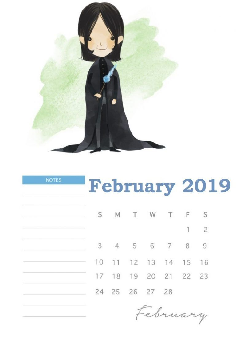 Harry Potter February 2019 Calendar Template Bullet Journals