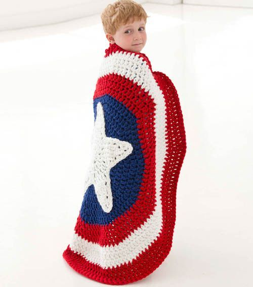 This Captain America shield crochet blanket is amazing! | Nerdy ...