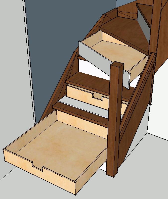 tiroirs l 39 anglaise sous escalier le coin des. Black Bedroom Furniture Sets. Home Design Ideas