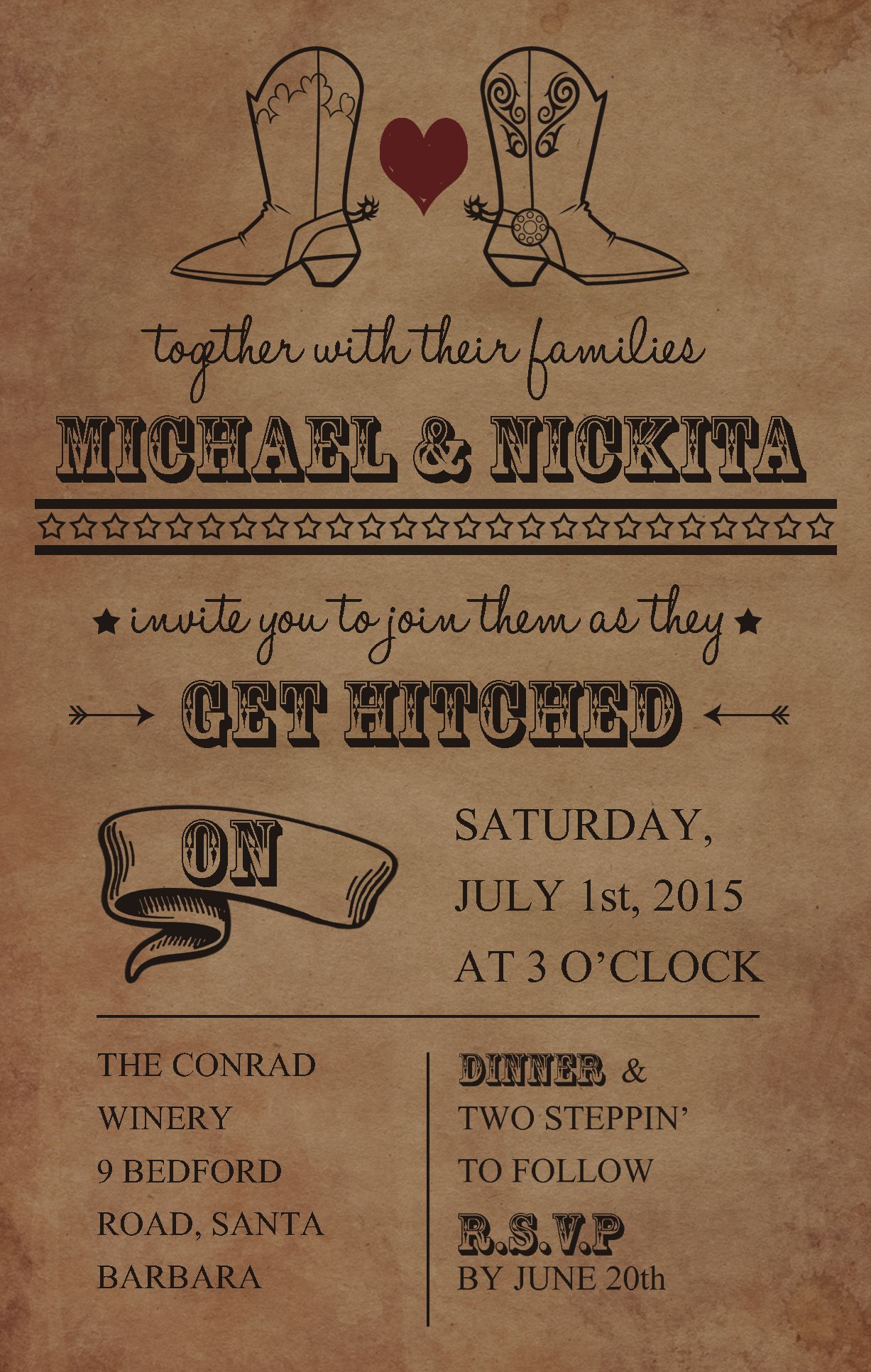 Country Cowboy/Cowgirl wedding invitation. Fonts Used- Halo Hand ...
