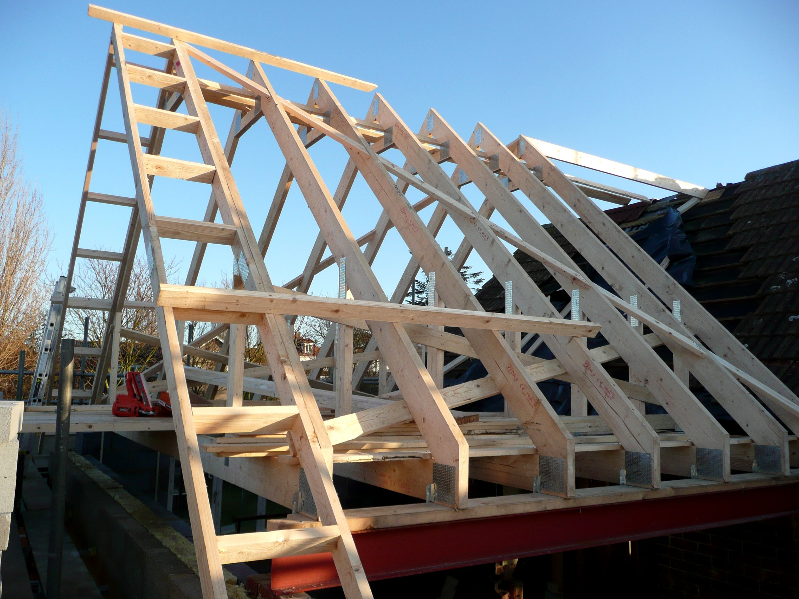 Mersea Essex 1st Fix A Truss Roof With Gable Ladder In