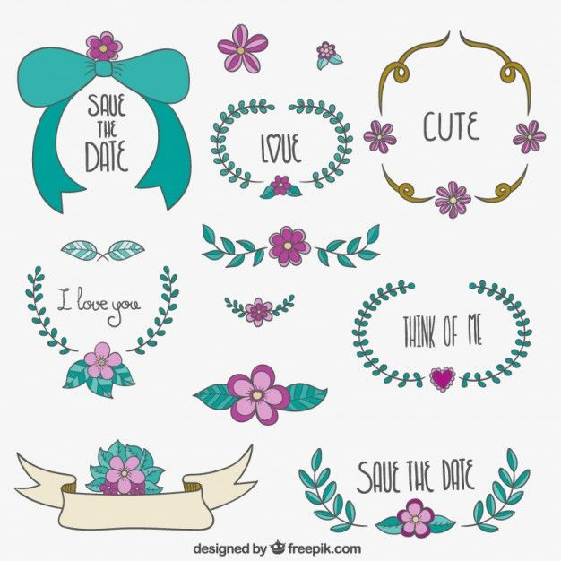 Save The Date Floral Ornaments Free Vector