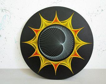 Kaleidoscope string art sacred geometry psychedelic wall - String art vorlagen kostenlos ...