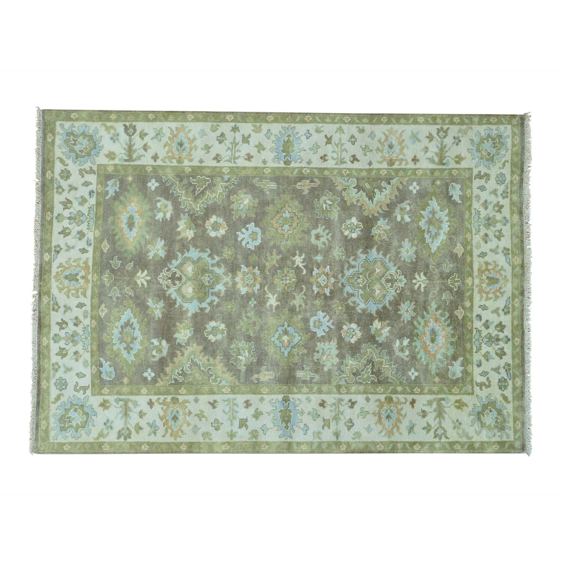 """1800getarug Oriental Washed Out Oushak Hand-knotted Pure Wool Rug (6'2 x 8'9) (Exact Size: 6'2"""" x 8'9""""), Silver, Size 6' x 9'"""