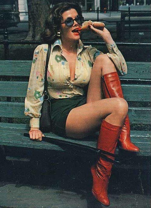 1970s Boots Porn - Just a lady in red vintage boots eating a hot dog