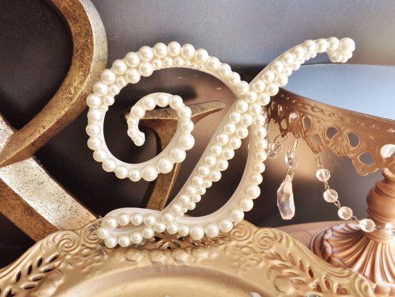 Ivory Pearl Wedding Cake Topper Letter Monogram