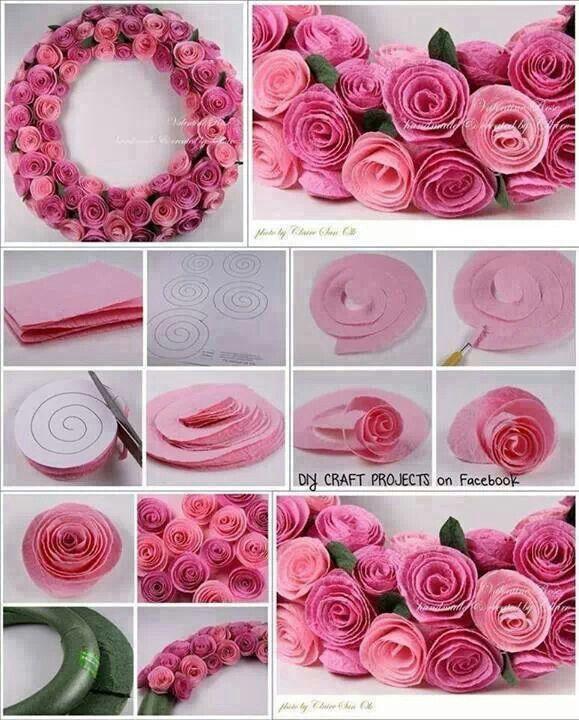 Wonderful Diy Beautiful Felt Rose Wreath Koszoruk Wreaths Paper