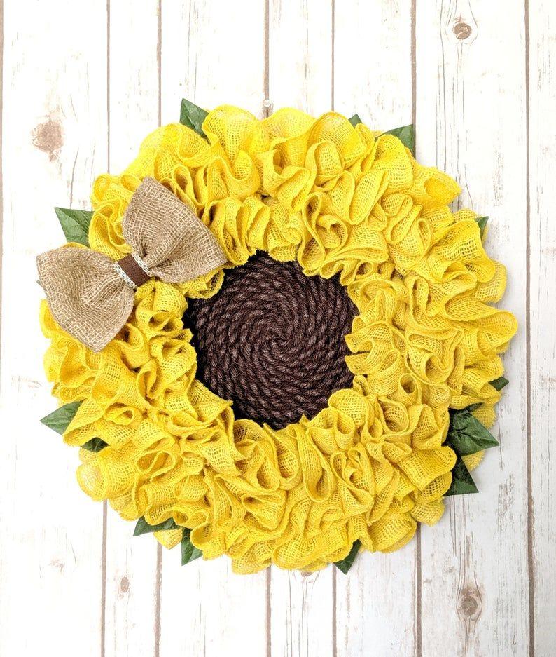 Photo of Burlap Sunflower Wreath | Summer Wreath | Sunflower Wreath | Fall Wreath | Burlap Flower Wreath |  Spring Wreath | Wreath For Front Door