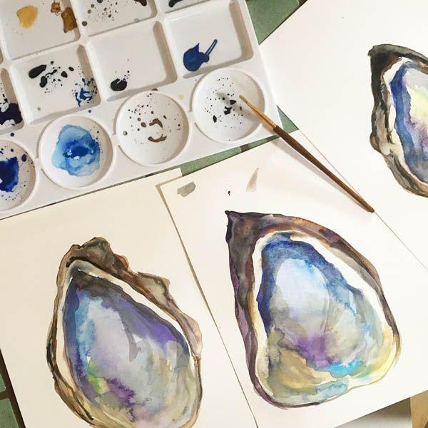 Watercolor Oyster Decor Wall Art Digital Print Underwater