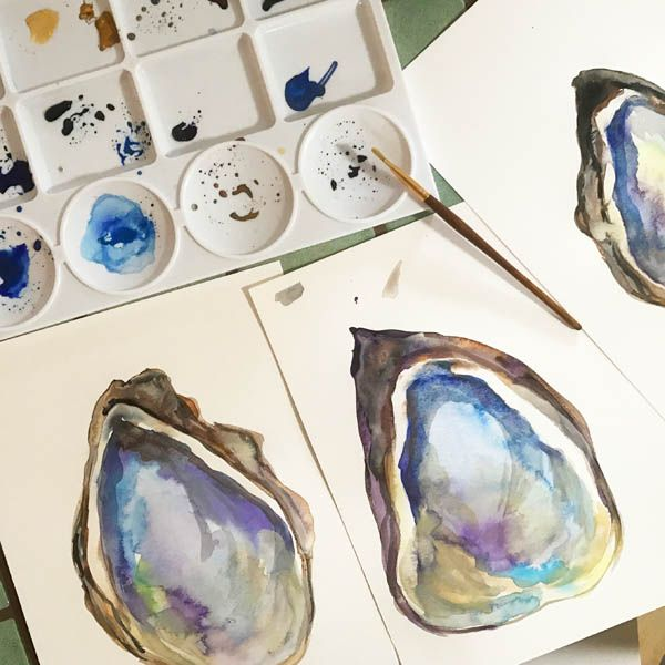Watercolor Oyster Decor Wall Art Digital Print Underwater