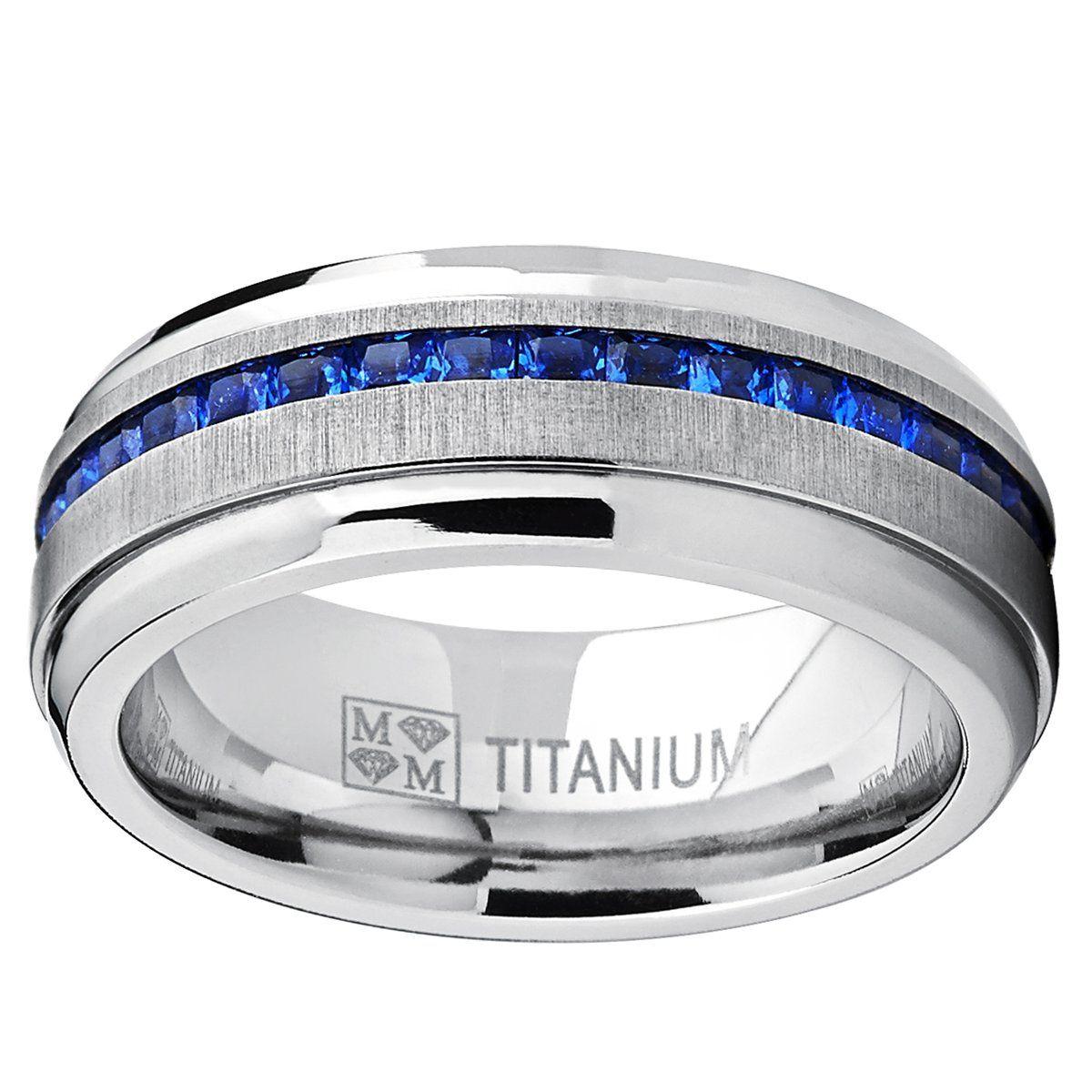 Men's Eternity Titanium Wedding Band Engagement Ring W