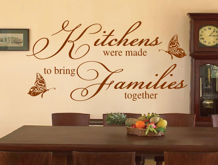 kitchens families together sticker wall art wall art quotes kitchen quotes on kitchen decor quotes wall decals id=66517