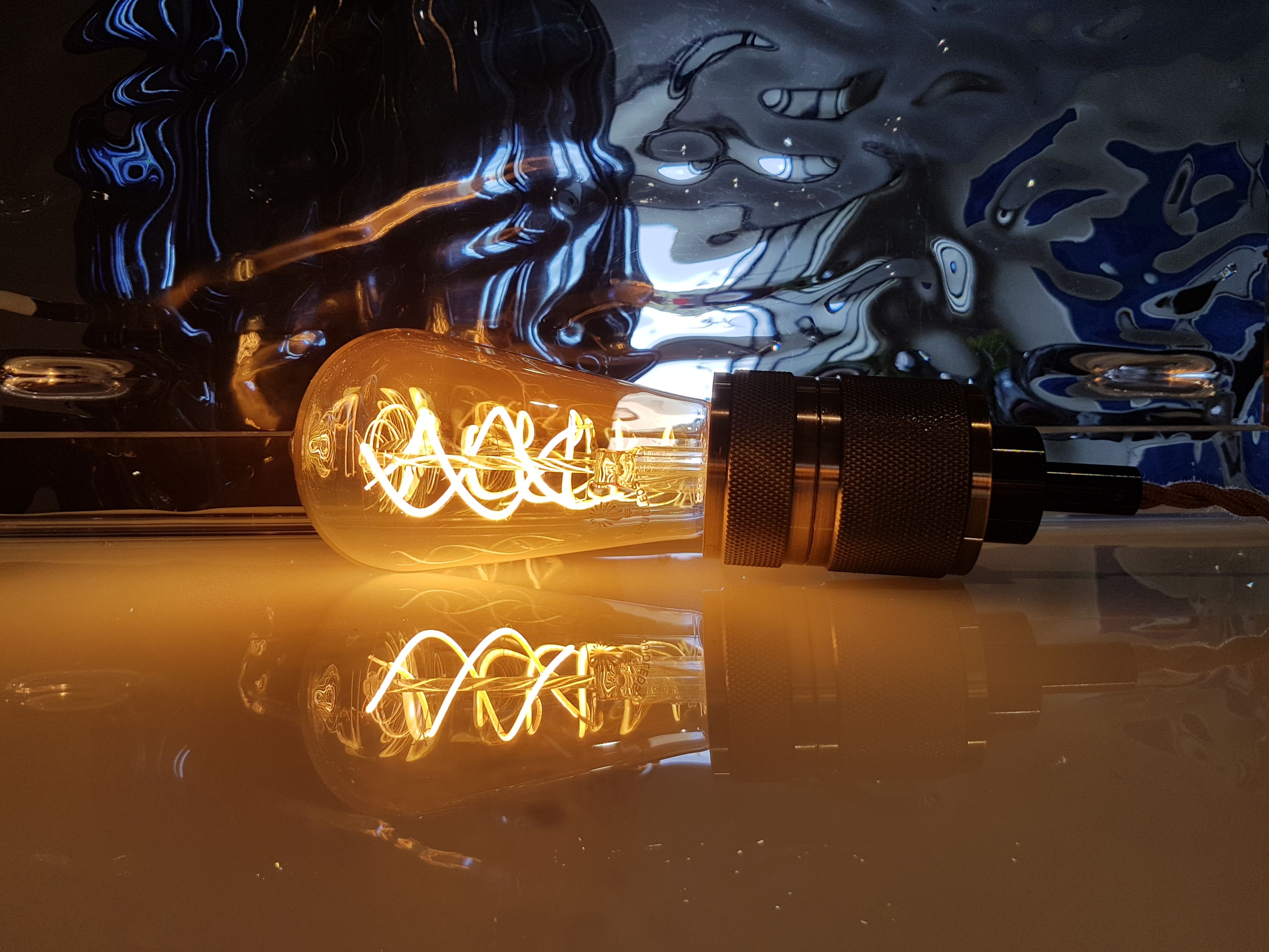 Teardrop st64 william and watson vintage edison bulb industrial light - Our 5 Watt Amber Glass Vintage Edison Spiral Led Filament Light Bulb Shop The Collection