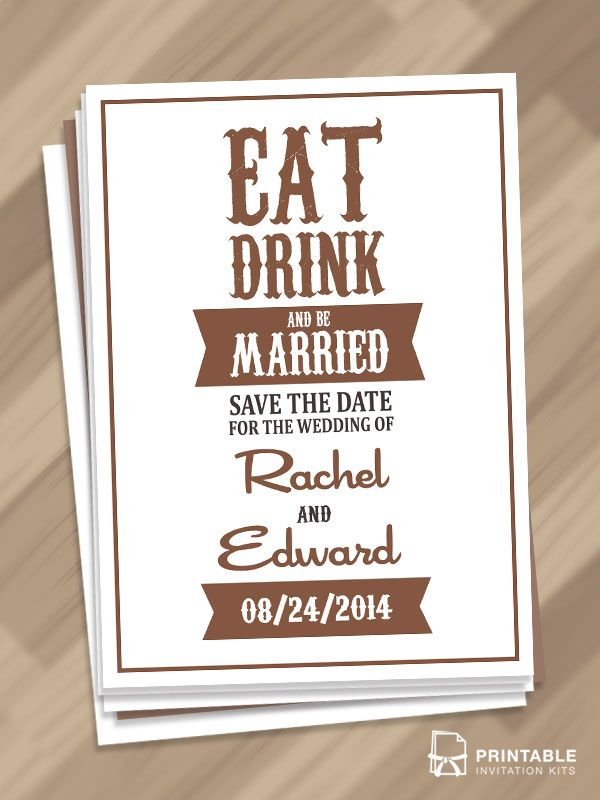 FREE PDF Download - Eat, Drink, and Be Married u2013 Save the Date - free invitation template downloads