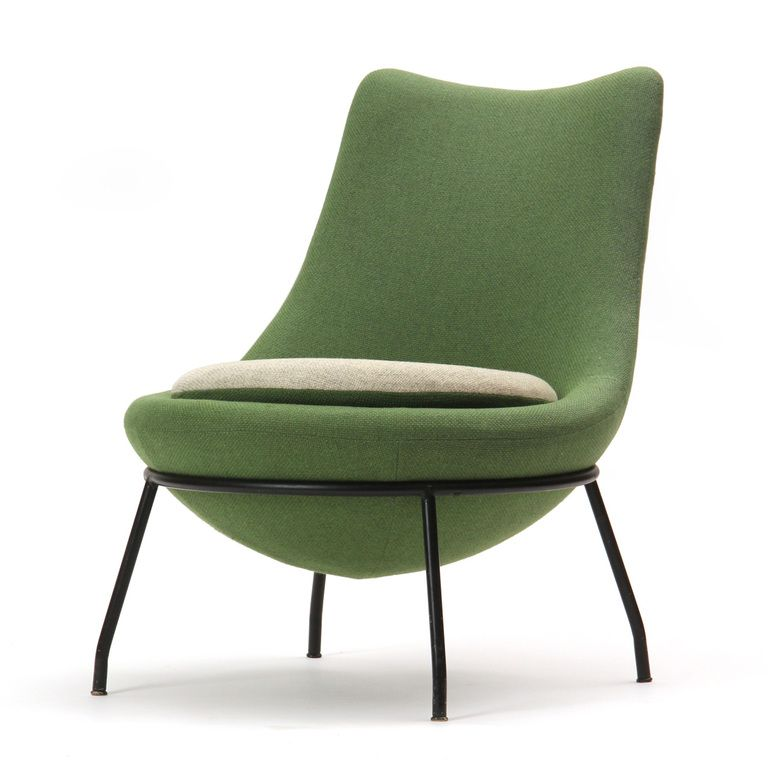 Poul Volther Painted Steel Framed Slipper Chair 1950s