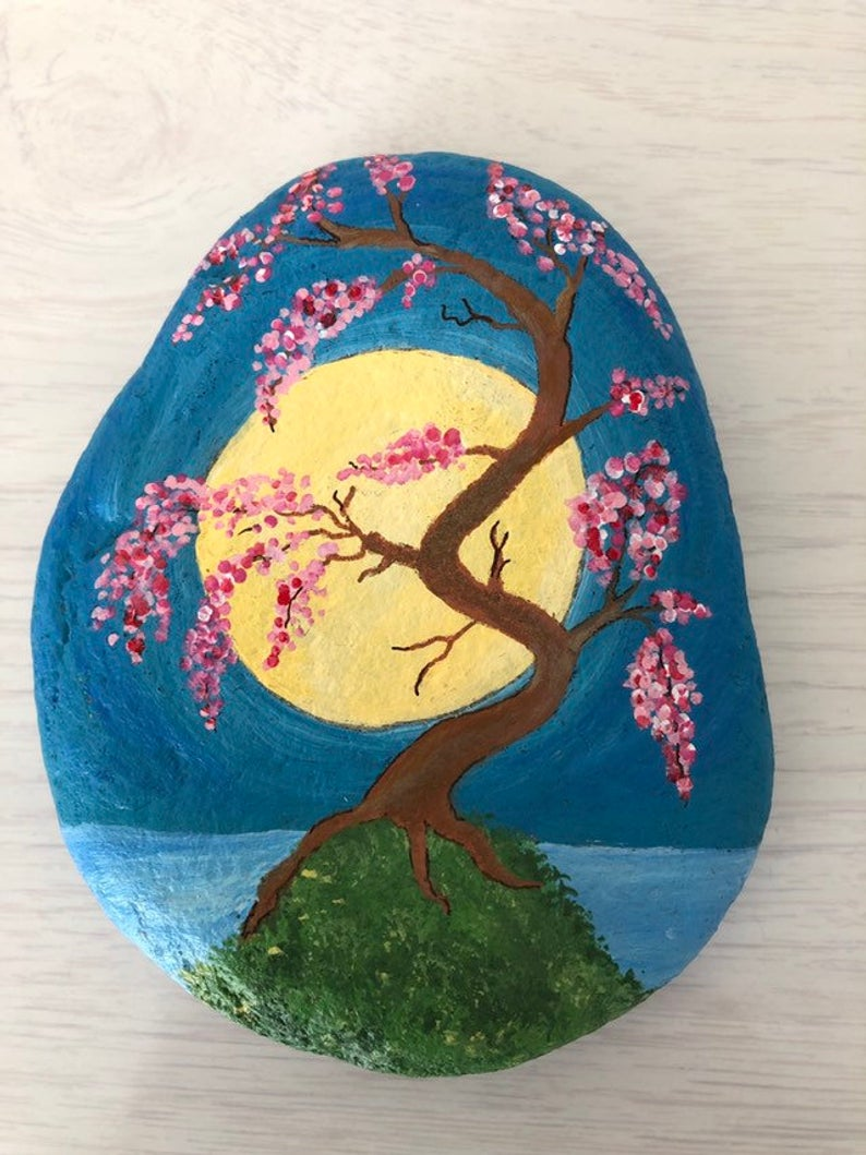 Reserved For Patti Japanese Cherry Blossom Tree Painted Rock Cherry Blossom Painting Tree Painting Painted Rocks