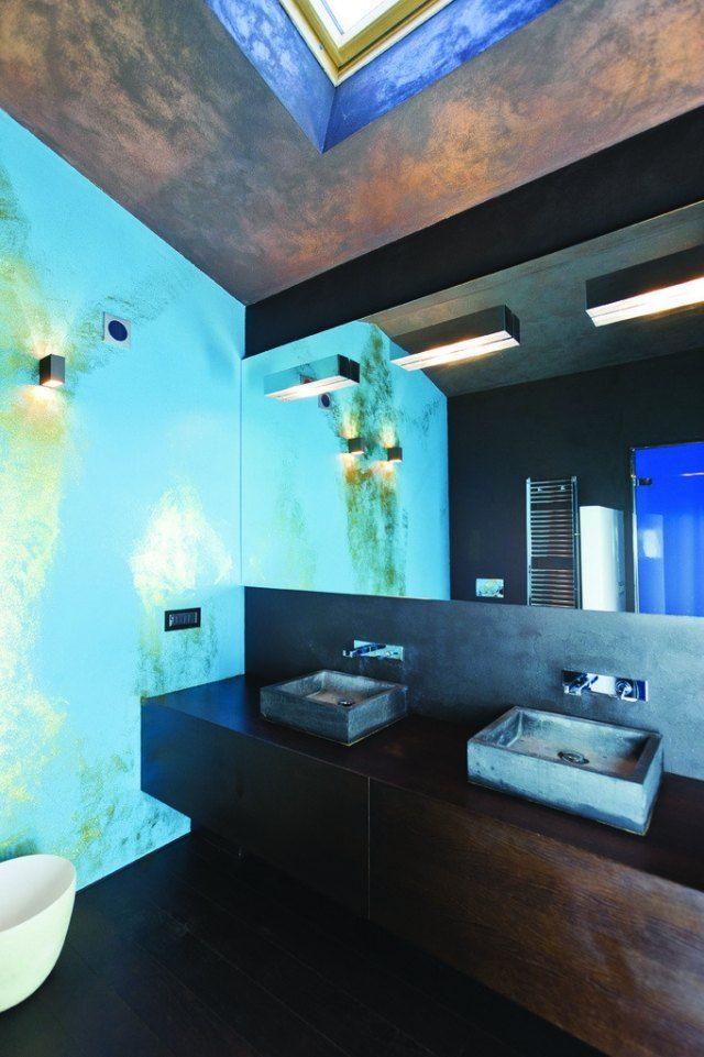 badezimmer-kunstvoll holz wandtischunterschrank beton aufsatz ...