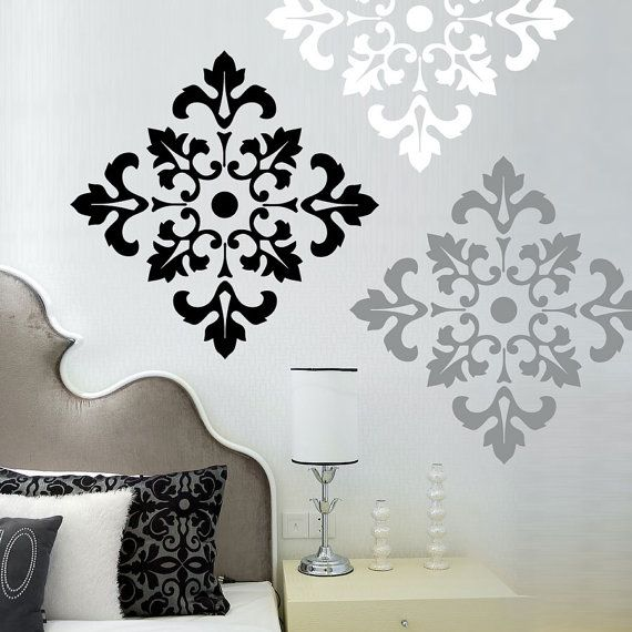 damask pattern vinyl wall decal large wall by wordybirdstudios 4395 - Design Stickers For Walls