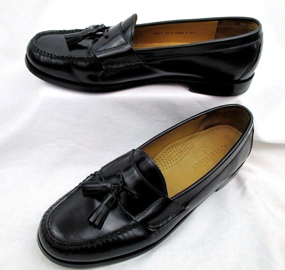 3e3826badc7 Cole Haan Black Leather Pinch Tassel Moc Toe Loafers Mens Dress Shoes 10.5  D  ColeHaan  LoafersSlipOns  Office