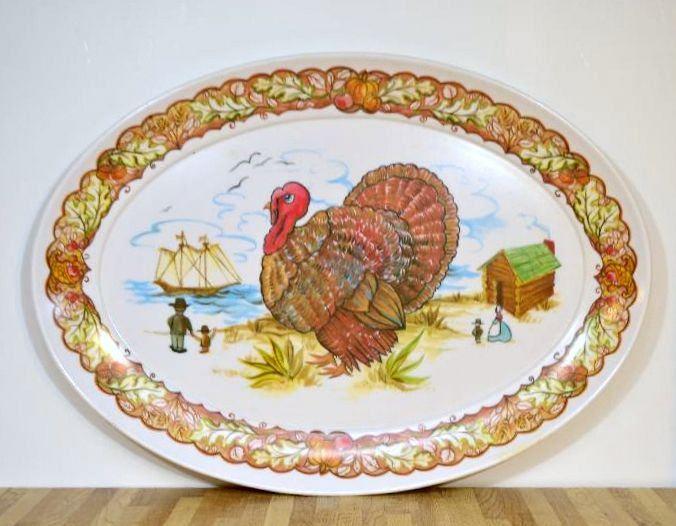 Vintage Thanksgiving Platter Melamine Brookpark Turkey Large Oval Plate By  VintageRescuer On Etsy