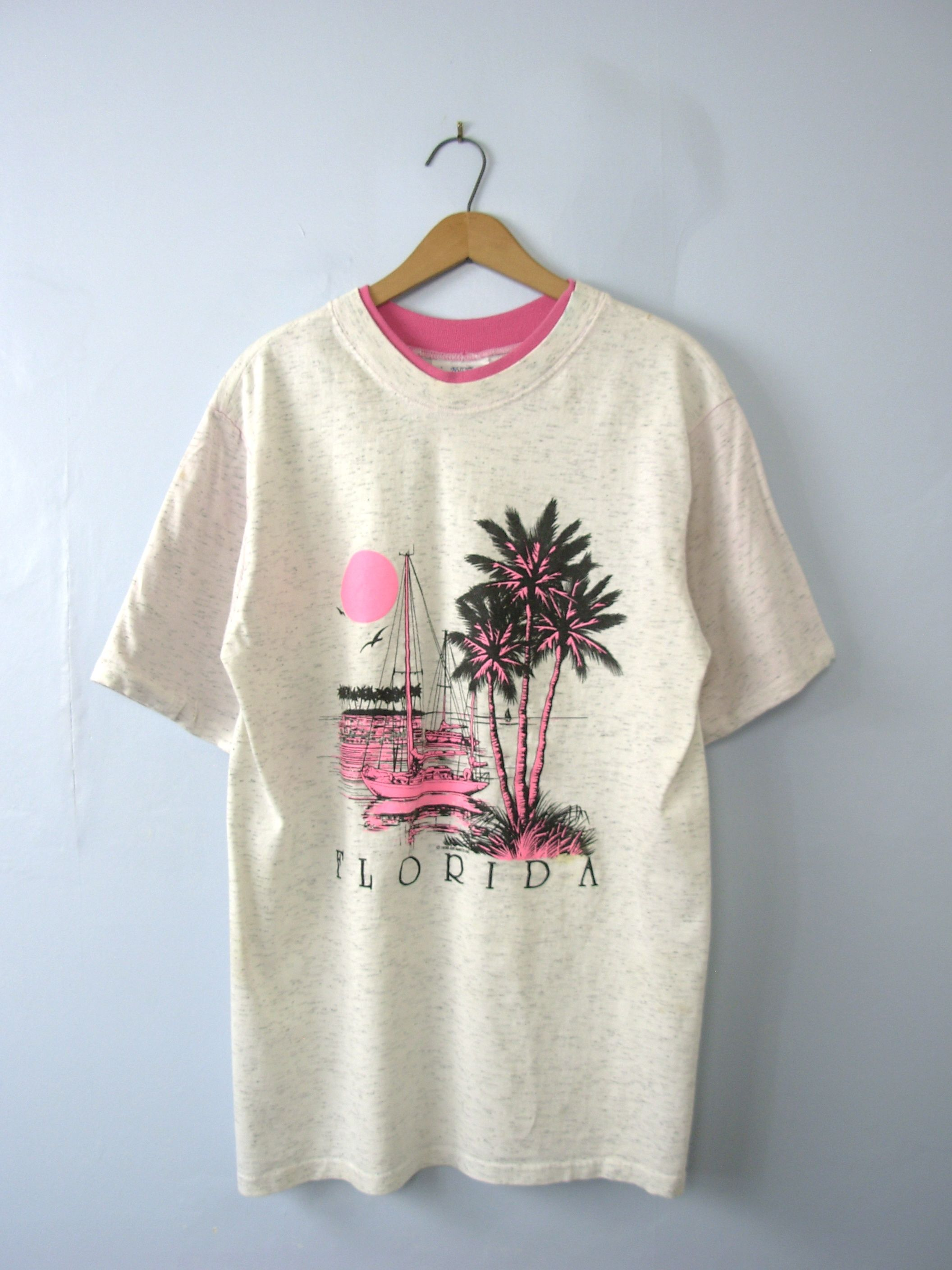 One vintage 1990s graphic tee florida sunset pink shirt