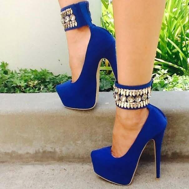 Royal blue heels with gold strap