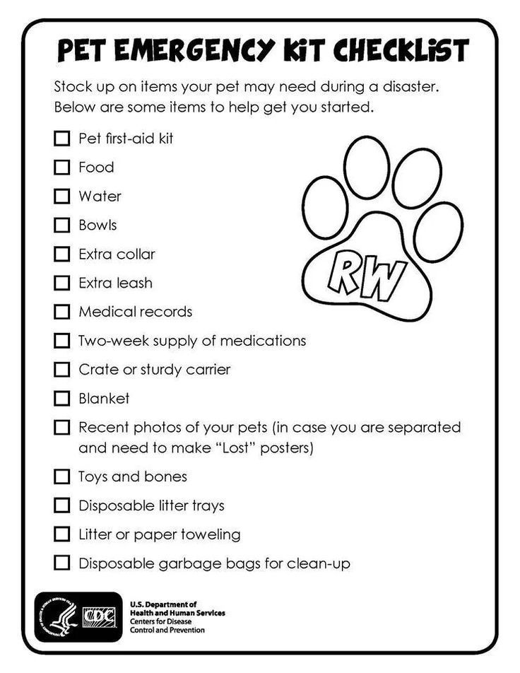 Emergency Pet Evacuation Checklist. Great for areas with
