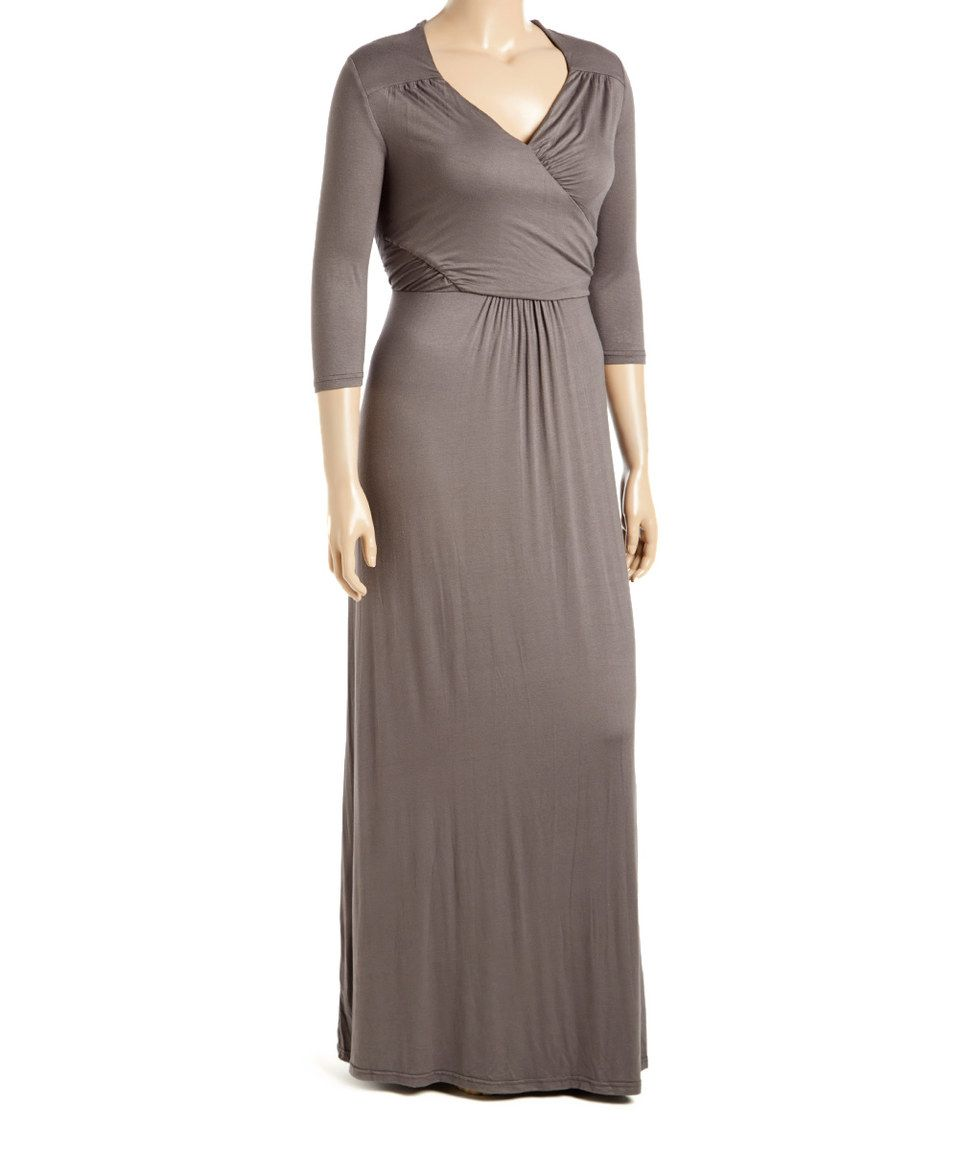 Look at this zulilyfind gray surplice maxi dress plus by freia