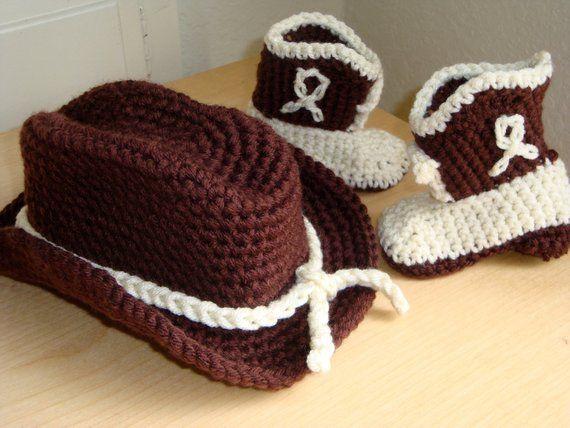 f56469be5 Crochet Cowboy Hat and Boot Set - Newborn Photo Prop - Cowboy Photo ...