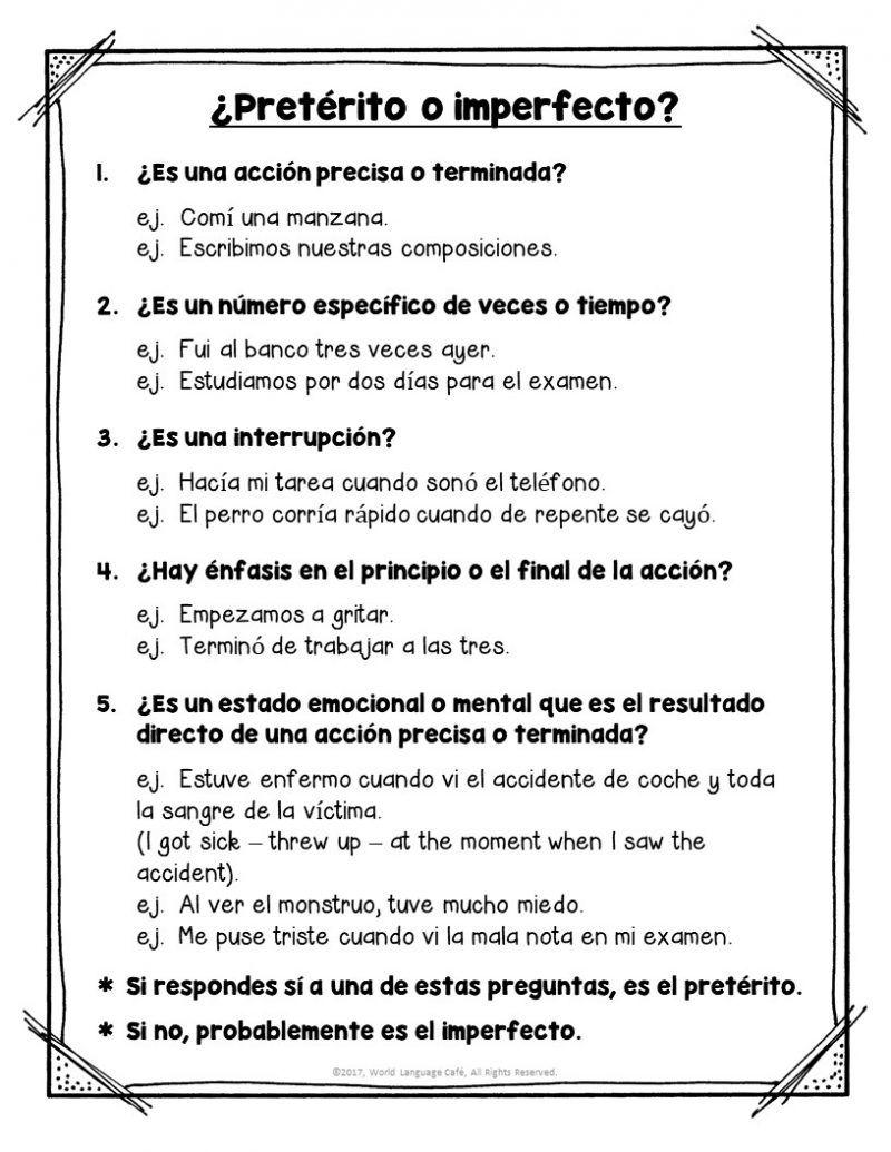 Worksheets Preterite Vs Imperfect Worksheet learn how to choose preterite vs imperfect tense school ideas tense