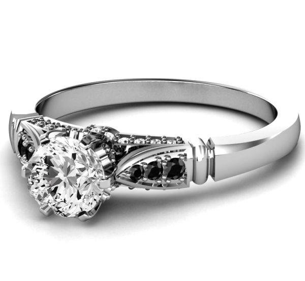 Black & White Diamond Engagement Ring in White Gold