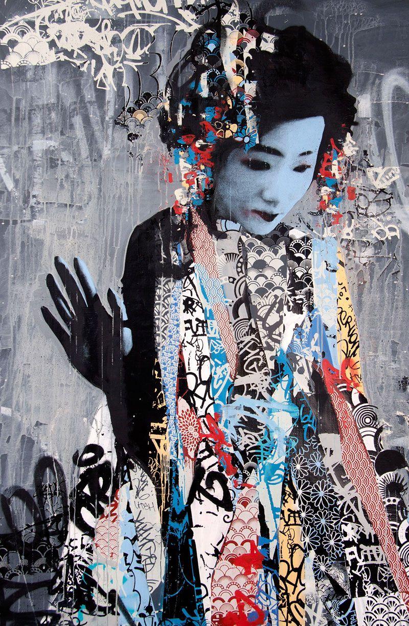 Twin Geishas Graffiti by HUSH Street art graffiti