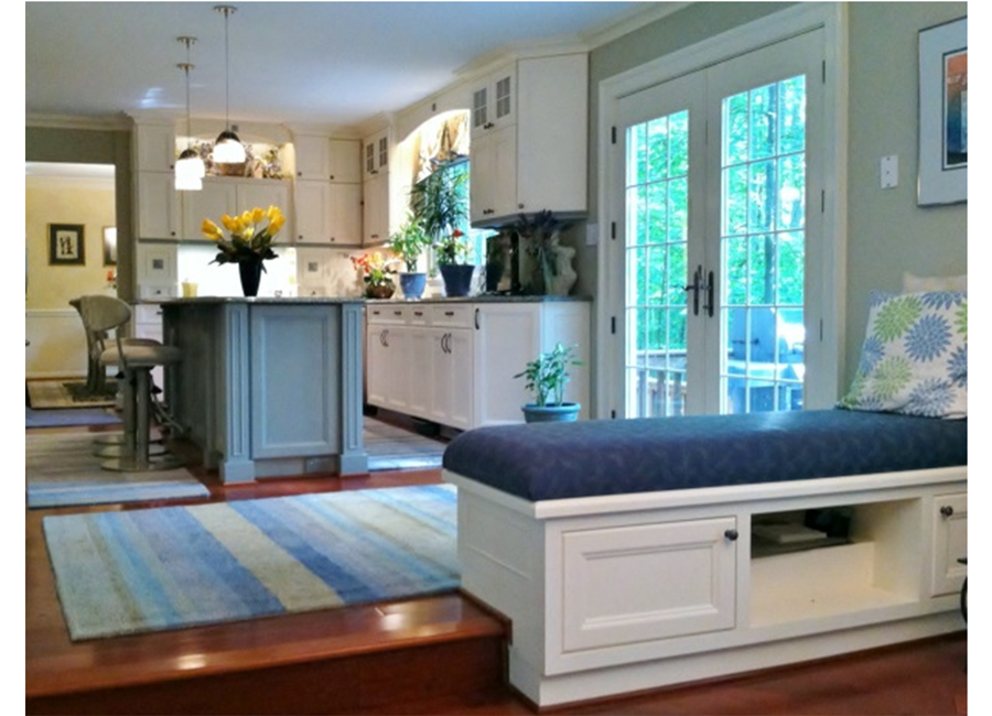 Custom Bench Seat Divides Dining Area From Kitchen And