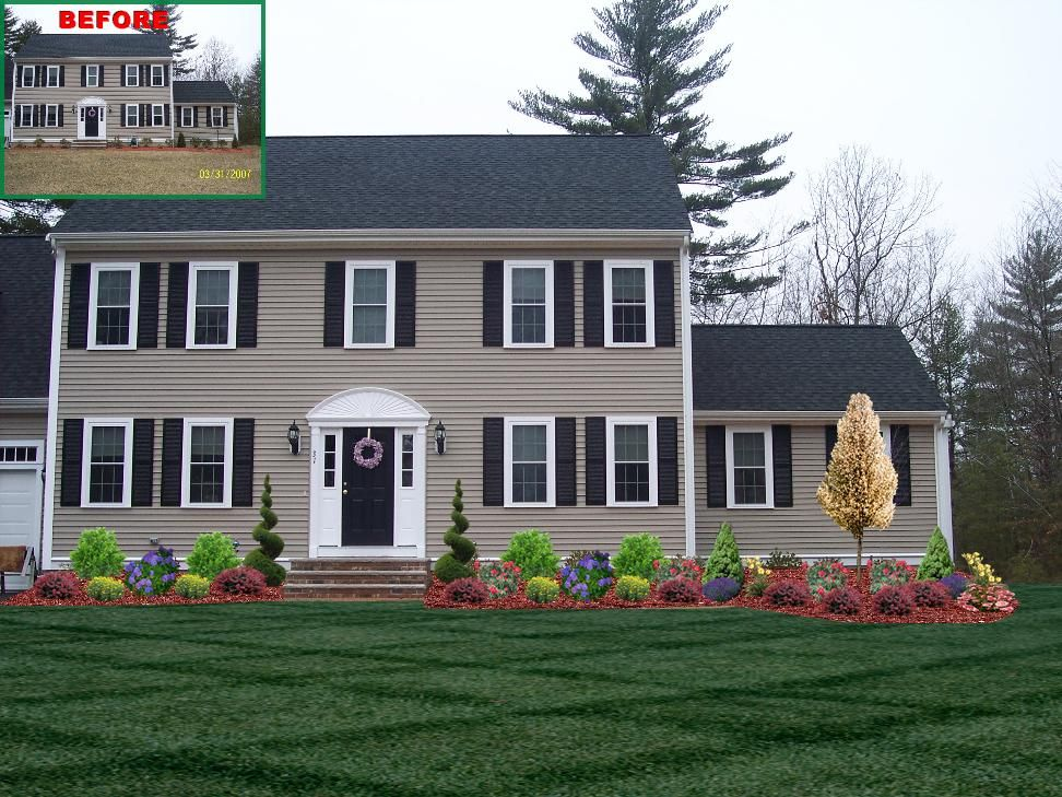 Landscape design with spiral trees front of home for Colonial landscape design
