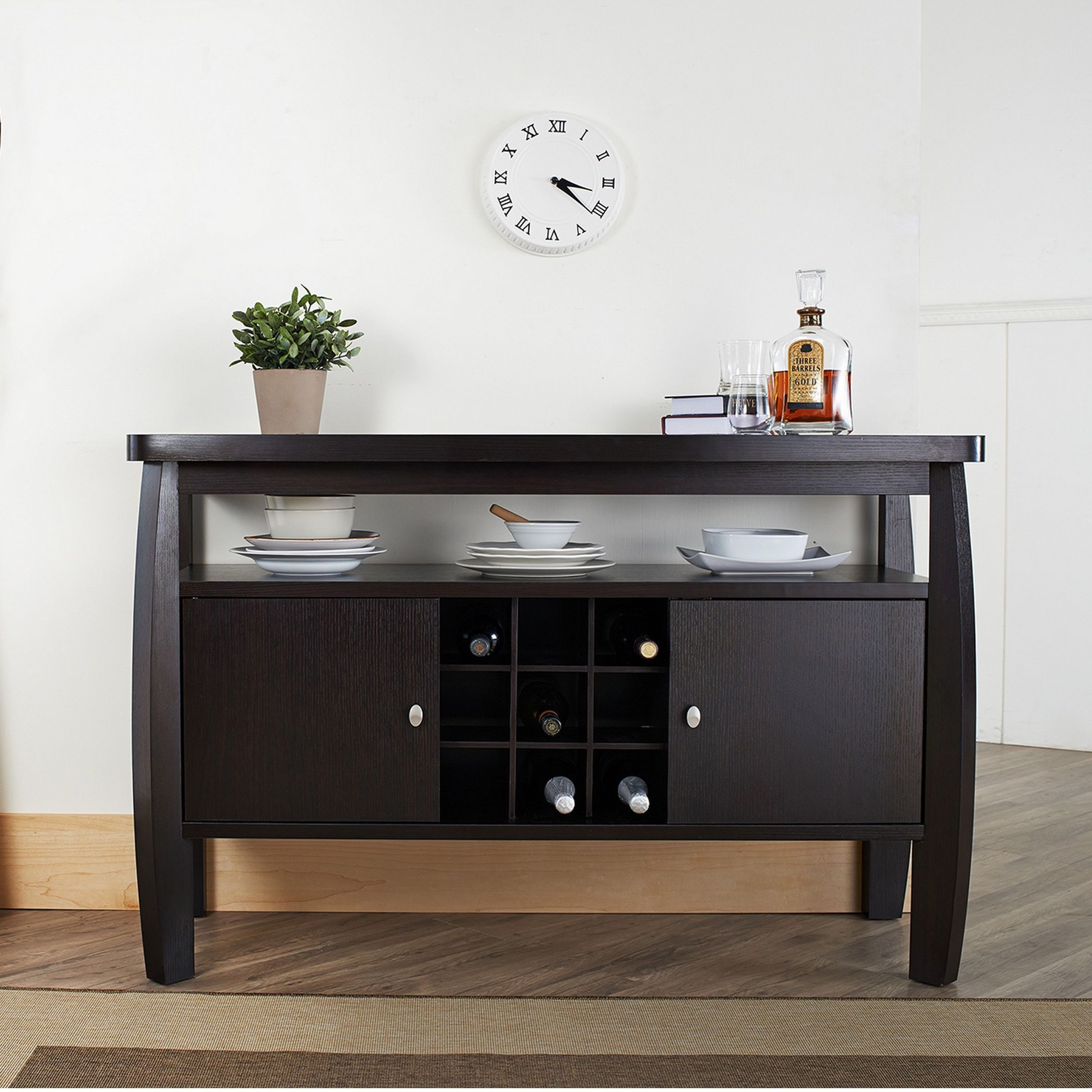 Add An Elegant Touch To Any Room With This Durable Espresso Buffet Table The