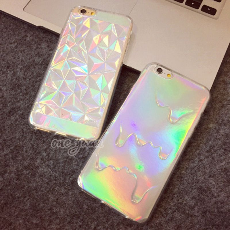 3D Diamond Laser Melting Rainbow Color For iphone 5S Case Hologram  Iridescent Triangle Pastel Phone Cases For iPhone 5 6 6S plus 4fa29f3d7