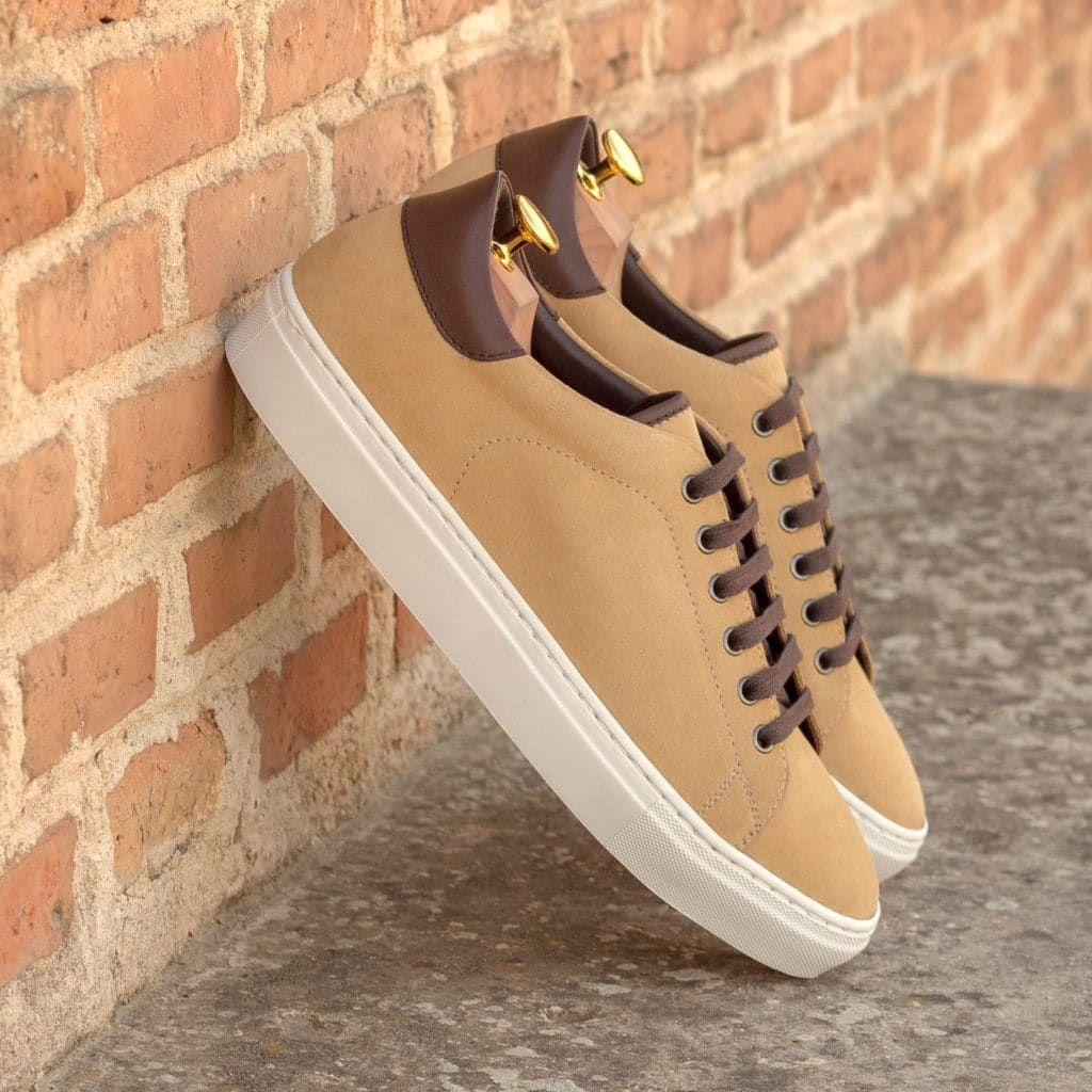 Sand Luxe Suede and Dark Brown Box Calf