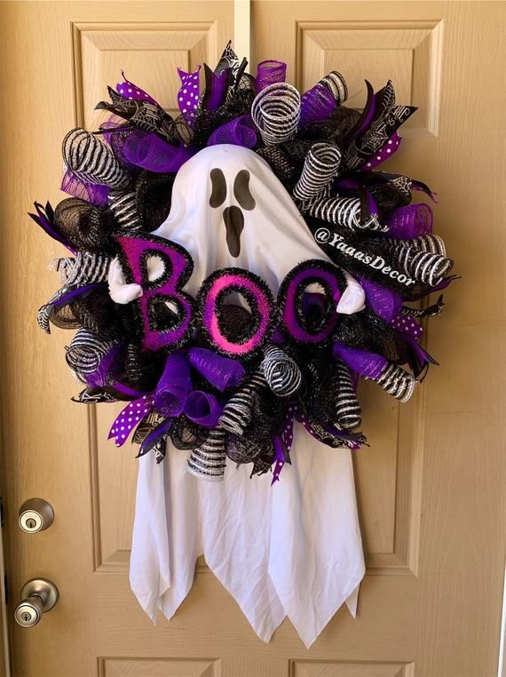 Purple Black Halloween Wreath | Ghost Boo | Ghost Decoration | Halloween Gift | Halloween Door Decor | Trick Or Treat Decor | Chevron Ribbon #halloweendoordecorations